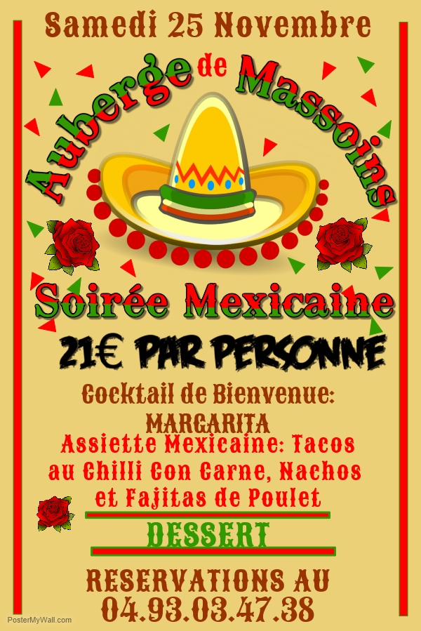 Soiree Mexicano 25 Novembre